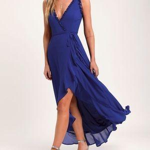 JULIETTE COBALT BLUE RUFFLED HIGH-LOW WRAP DRESS